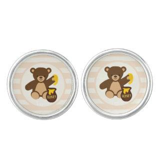 Cute Brown Teddy Bear with Yellow Honey Cufflinks