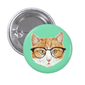 Cute Brown & White Cat Wearing Glasses 3 Cm Round Badge