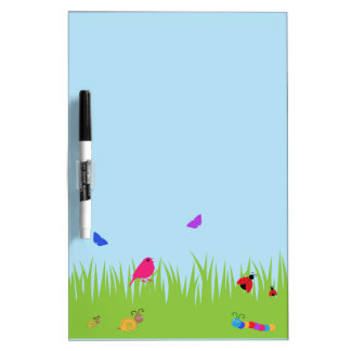Cute bugs and bird in grass with blue sky dry erase board