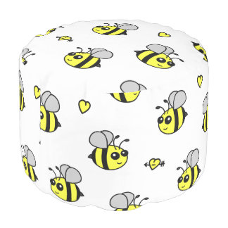 Cute Bumble Bee Pattern White Pouf