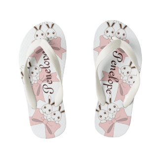 Cute Bunnies w/ Pink Ribbons Kids Name Girls Kid's Jandals