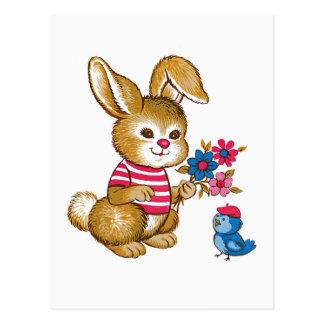 Cute Bunny and Bluebird Postcard
