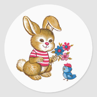 Cute Bunny and Bluebird Stickers