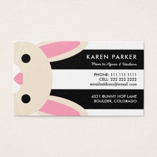 Cute Bunny Black Stripes Mommy Card