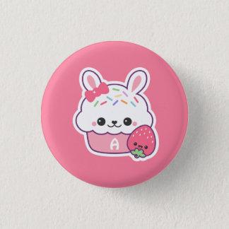 Cute Bunny Cupcake Monogram 3 Cm Round Badge