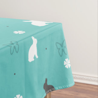 cute bunny flower and butterfly pattern tablecloth