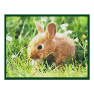 Cute Bunny In Grass Watercolor Painting Poster