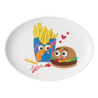 Cute Burger & Fries in Love Platter Porcelain Serving Platter