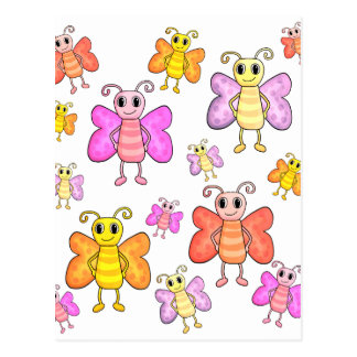 Cute butterflies pattern postcard