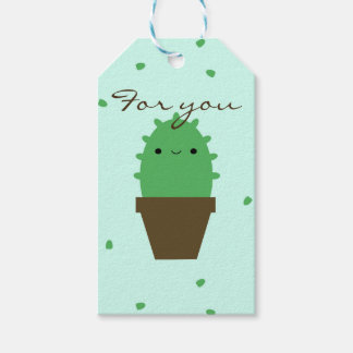 Cute cactus kawaii plant gift tag