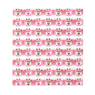 Cute cafe coffee coffees in pink pattern notepad