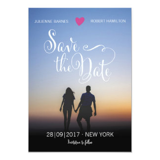 Cute Calligraphic Custom Photo Save the Date Card
