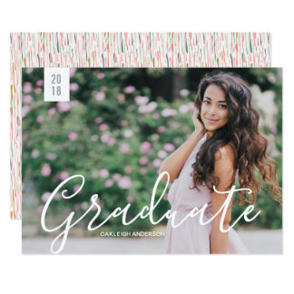 Cute Calligraphy Photo Graduation Announcement