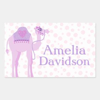 Cute camel book plate name purple id label sticker