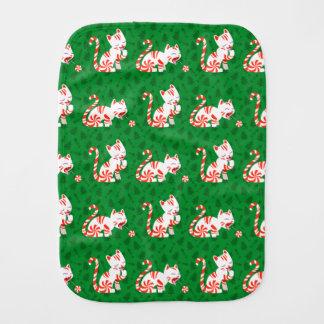 Cute Candy Cane Cat Burp Cloth