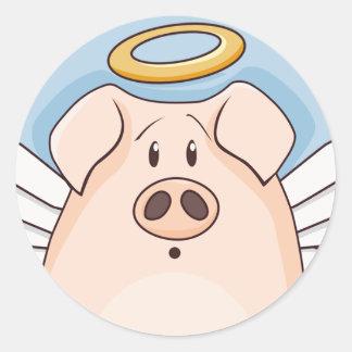 Cute Cartoon Angel Pig Classic Round Sticker