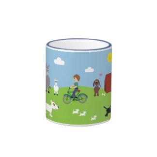 Cute Cartoon Animals & Boy Riding Bike Ringer Mug