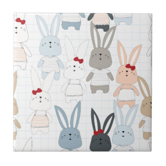 Cute cartoon baby rabbit bunny funny character tile