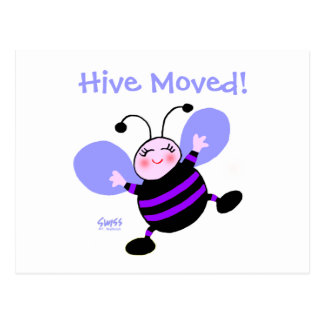Cute Cartoon Bee Woman's Moving Announcement Postcard