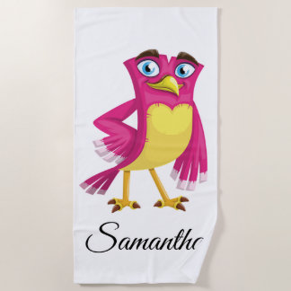 Cute Cartoon Bird Beach Towel
