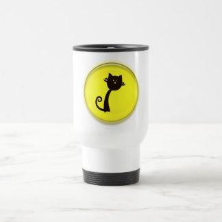 Cute Cartoon Black Cat in Yellow Circle Travel Mug