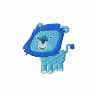 Cute Cartoon Blue Lion embroidery Embroidered Shirt
