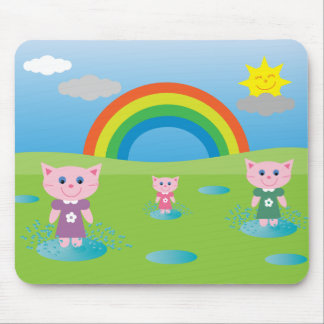 Cute Cartoon Cats Jumping In Puddles Mouse Pad