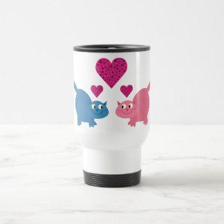 Cute Cartoon Cats & Love Hearts Customizable Coffee Mugs