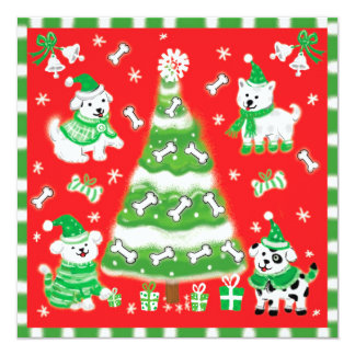Cute Cartoon Christmas Dogs and Puppies 5.25x5.25 Square Paper Invitation Card