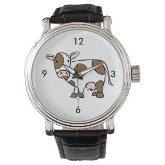 Cute Cartoon Cow Brown and White Watch