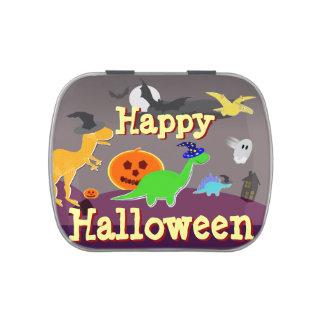 Cute Cartoon Dinosaurs Happy Halloween Jelly Belly Tins