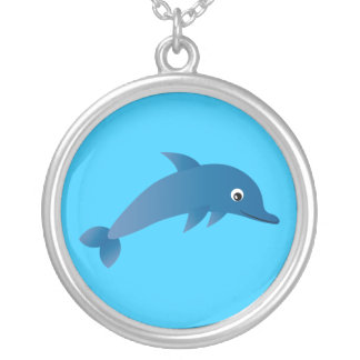 Cute Cartoon Dolphin Customizable Blue Silver Plated Necklace