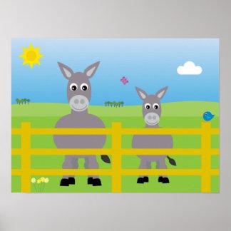 Cute Cartoon Donkeys In A Field Poster