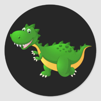 Cute cartoon dragon classic round sticker