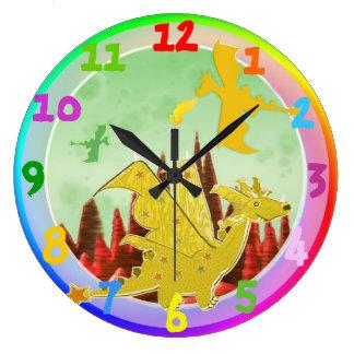 Cute Cartoon Dragon Rainbow Colors Wall Clocks