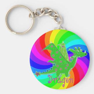 Cute Cartoon Dragon Rainbow Keychain for Kids