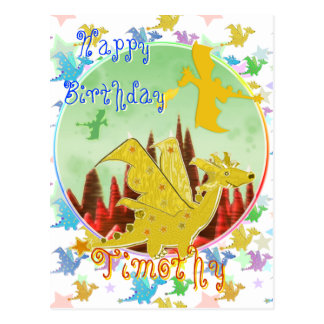 Cute Cartoon Dragons Happy Birthday Postcard