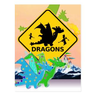 Cute Cartoon Dragons Postcard