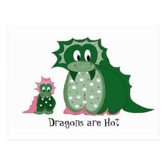 Cute Cartoon Dragons Post Card