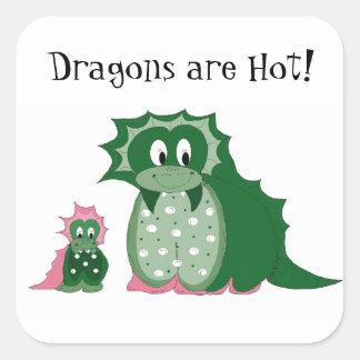 Cute Cartoon Dragons Square Stickers