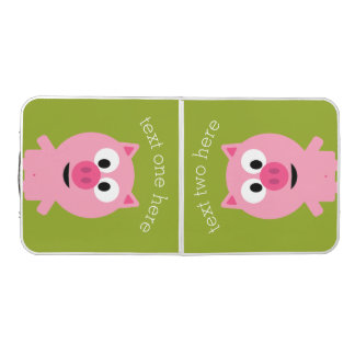 Cute Cartoon Farm Pig - Pink and Lime Green Beer Pong Table