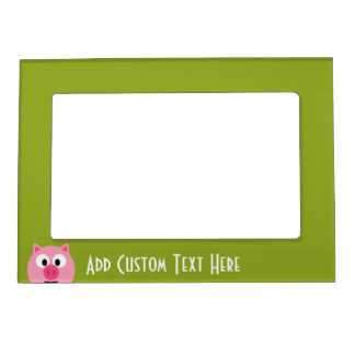 Cute Cartoon Farm Pig - Pink and Lime Green Magnetic Photo Frames