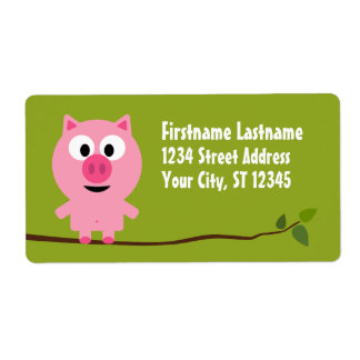 Cute Cartoon Farm Pig - Pink and Lime Green Shipping Label