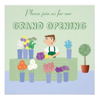 Cute Cartoon Florist New Store Opening Invitations