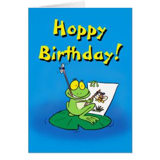 Cute cartoon frog birthday card