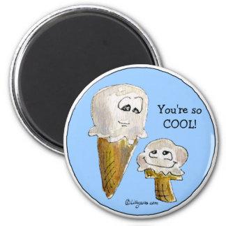 Cute Cartoon Ice Cream Cones 6 Cm Round Magnet