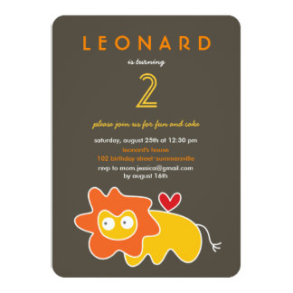 Cute Cartoon Lion Kids Boy Birthday Photo Invite