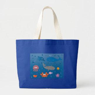 Cute Cartoon Marine Life Large Tote Bag