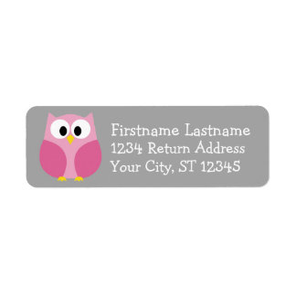 Cute Cartoon Owl - Pink and Gray Custom Name
