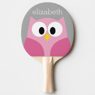Cute Cartoon Owl - Pink and Gray Custom Name Ping Pong Paddle